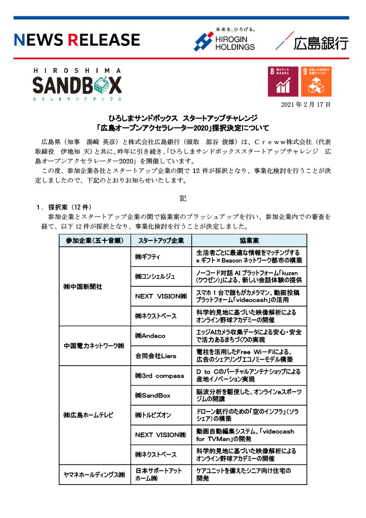 ひろしまサンドボックス スタートアップチャレンジ「広島オープンアクセラレーター2020」採択決定について1